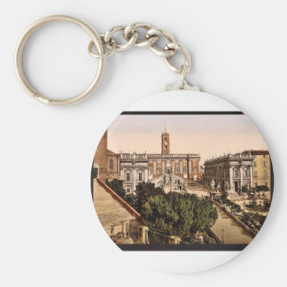 The Capitoline, Rome, Italy vintage Photochrom Keychain