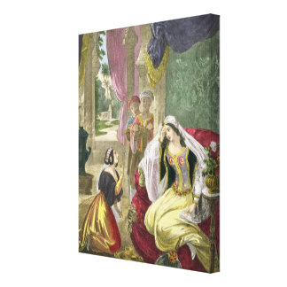 The Captive Hebrew Maid that Waited on Naaman's Wi Stretched Canvas Print