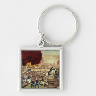 The Capture of Atlanta by the Union Army Silver-Colored Square Key Ring