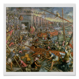 The Capture of Constantinople in 1204 (oil on canv Poster