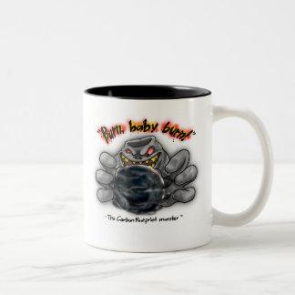 The Carbon Footprint Monster - Burn Baby Burn Two-Tone Coffee Mug