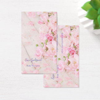 The card where the flower of pink is lovely softly
