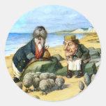 The Carpenter and the Walrus in Wonderland Round Sticker
