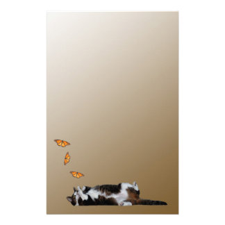The cat and the butterfly stationery