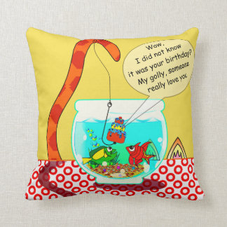The Cat And The Fish Bowl Pilllow Cushion