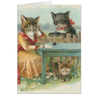 """""""The Cat Family"""" Vintage Greeting Card"""