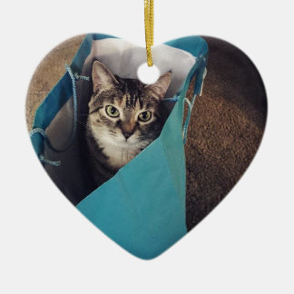 The cat is ready to come out of the bag ceramic heart decoration