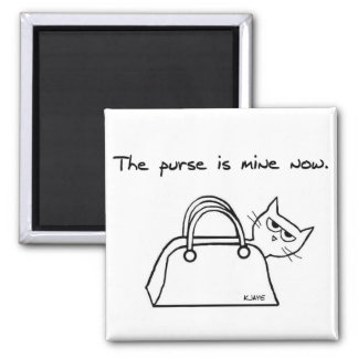 The Cat Steals Your Purse - Funny Cat Magnet