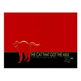 The Cat That Got The Milk Postcard