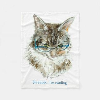 The Cat Who Reads fleece blanket