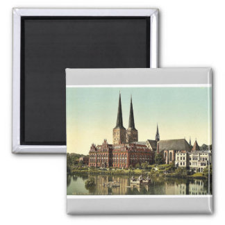 The cathedral and museum, Lubeck, Germany rare Pho Square Magnet