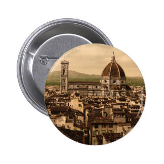 The Cathedral, panoramic view from Vecchio Palace, 6 Cm Round Badge