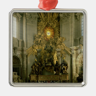 The chair of St. Peter, 1665 Silver-Colored Square Decoration