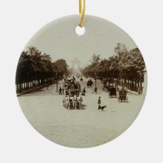 The Champs Elysees Paris sepia photo Christmas Tree Ornaments