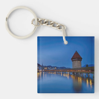 The Chapel Bridge in Lucerne Double-Sided Square Acrylic Key Ring