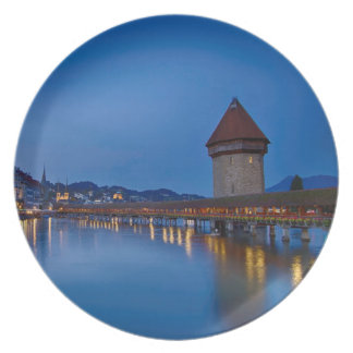 The Chapel Bridge in Lucerne Plate