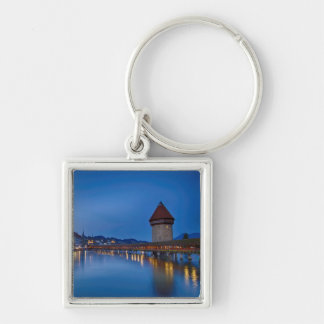 The Chapel Bridge in Lucerne Silver-Colored Square Key Ring