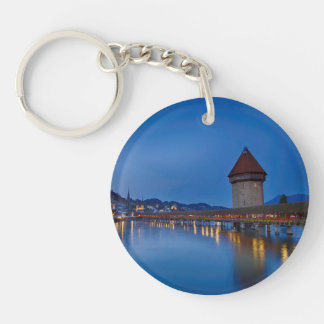 The Chapel Bridge in Lucerne Single-Sided Round Acrylic Key Ring