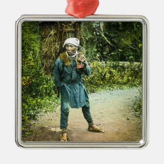 The Charcoal Merchant in Old Japan Rustic Vintage Silver-Colored Square Decoration