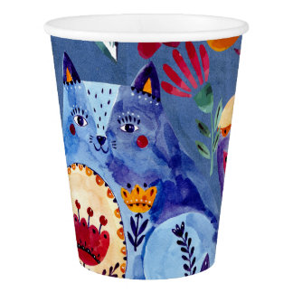 The Cheeky Cat in Flower Garden Paper Cup