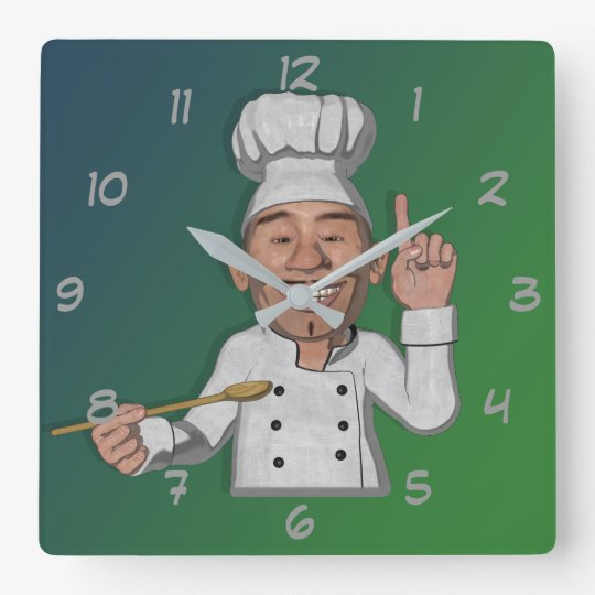 The Chef 2 Cartoon Style Square Wall Clock