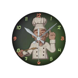 The Chef 5 Cartoon Style Round Clock