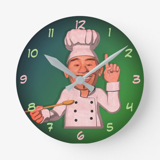 The Chef 6 Cartoon Style Round Clock