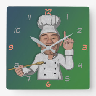 The Chef Cartoon Style Square Wall Clock