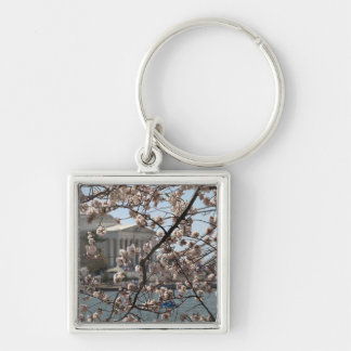 The Cherry Blossoms In Bloom In Washington DC Silver-Colored Square Key Ring