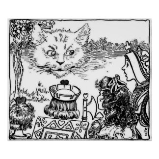 The Cheshire Cat Vintage Illustration Poster