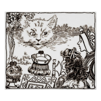 The Cheshire Cat Vintage in Sepia Poster