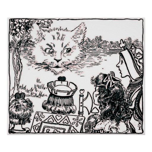 The Cheshire Cat Vintage Pink Hue Poster
