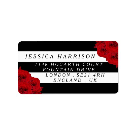 The Chic Modern Luxe Wedding Collection- Red Roses Address Label