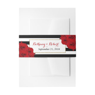 The Chic Modern Luxe Wedding Collection- Red Roses Invitation Belly Band