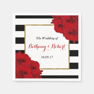 The Chic Modern Luxe Wedding Collection- Red Roses Paper Napkins