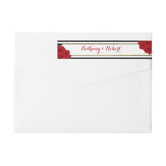 The Chic Modern Luxe Wedding Collection- Red Roses Wrap Around Label