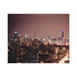 The Chicago skyline from Waveland Ave. Stretched Canvas Print
