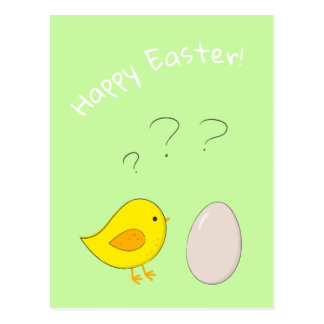 The chicken or the egg cute Easter cartoon Postcard