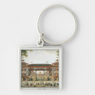 The Chinese Baths in Paris, established by Lenoir Silver-Colored Square Key Ring