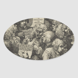 The Chorus by William Hogarth Oval Sticker