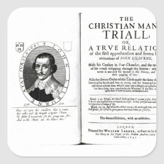 The Christian Man's Trial' by John Lilburne Square Sticker