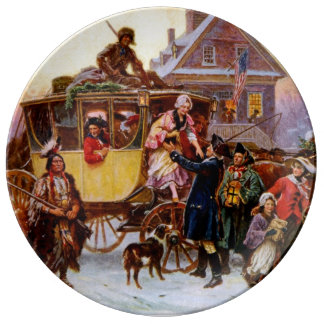 The Christmas Coach Porcelain Plate
