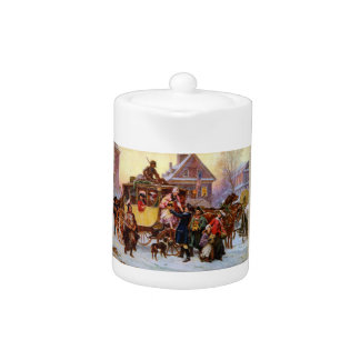 The Christmas Coach Porcelain Teapot