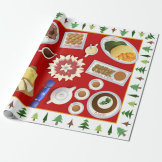 The christmas menu wrapping paper