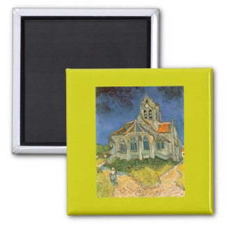 The Church at Auver by Vincent Van Gogh Square Magnet