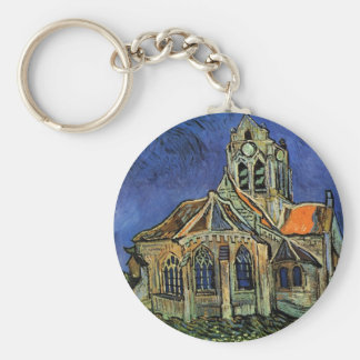 The Church at Auvers by Vincent van Gogh Basic Round Button Key Ring