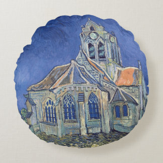 The Church at Auvers-sur-Oise Round Pillow