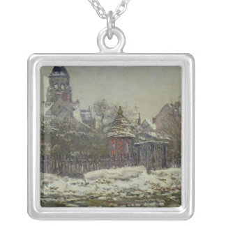 The Church at Vetheuil, 1879 Silver Plated Necklace