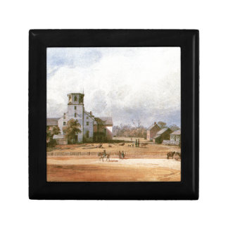 The church of New Harmony by Karl Bodmer Small Square Gift Box
