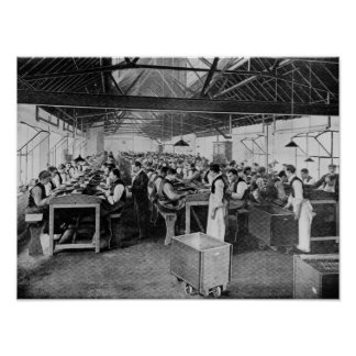 The cigar manufacturing departments poster